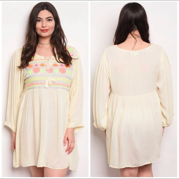 Plus size boho cream dress